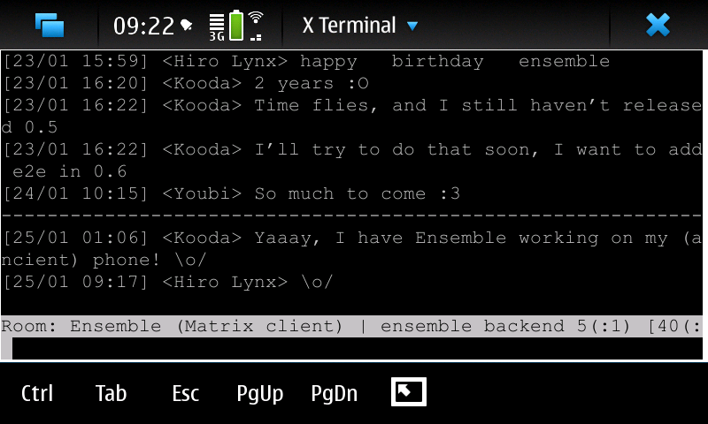 Ensemble 0.5 on Maemo